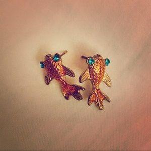 Betsey Johnson goldfish earrings